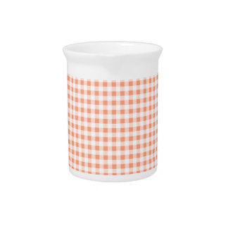 Salmon Pink Gingham Drink Pitcher