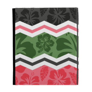 Salmon Pink, Green, and Black Tropical Hibiscus iPad Folio Cover