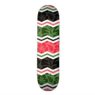 Salmon Pink, Green, and Black Tropical Hibiscus Skate Deck