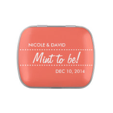 Salmon pink mint to be wedding celebration favor candy tins at Zazzle
