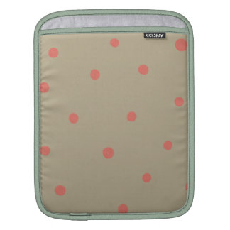 Salmon Pink Polka Dots on Beige Brown Hand Painted Sleeve For iPads