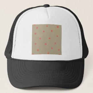 Salmon Pink Polka Dots on Beige Brown Hand Painted Trucker Hat
