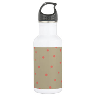 Salmon Pink Polka Dots on Beige Brown Hand Painted Water Bottle