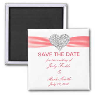 Salmon Pink Ribbon Diamond Save The Date Magnet