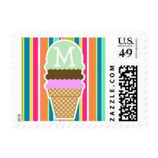 Salmon Pink & Seafoam Green; Ice Cream Cone Postage Stamp