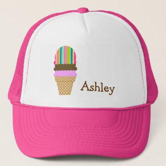 Salmon Pink & Seafoam Green; Ice Cream Cone Trucker Hat