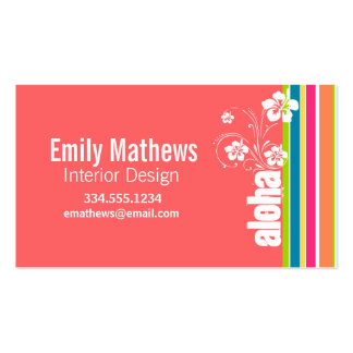 Salmon Pink & Seafoam Green Striped: Aloha Double-Sided Standard Business Cards (Pack Of 100)