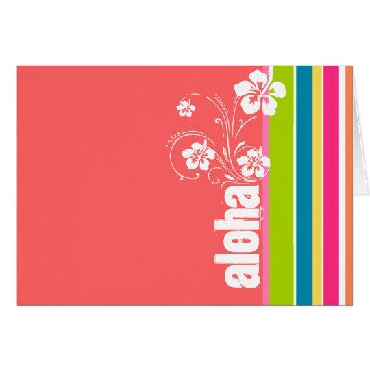 Salmon Pink & Seafoam Green Striped: Aloha Card