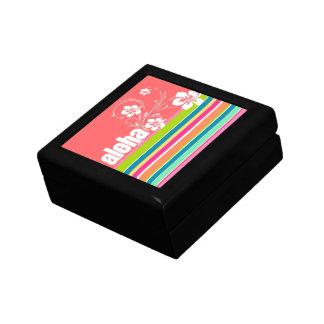Salmon Pink & Seafoam Green Striped: Aloha Trinket Boxes
