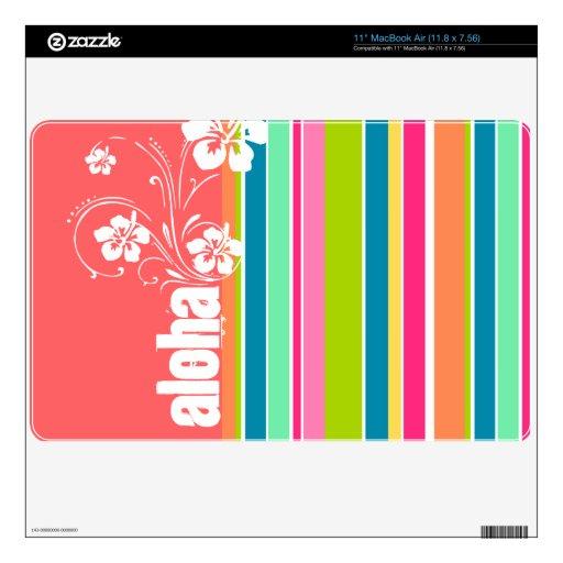 Salmon Pink & Seafoam Green Striped: Aloha Skin For The MacBook Air