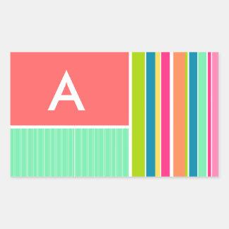 Salmon Pink & Seafoam Green Striped; Stripes Rectangular Sticker