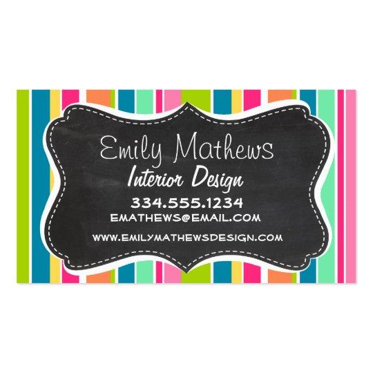 Salmon Pink & Seafoam Green; Vintage Chalkboard Business Card