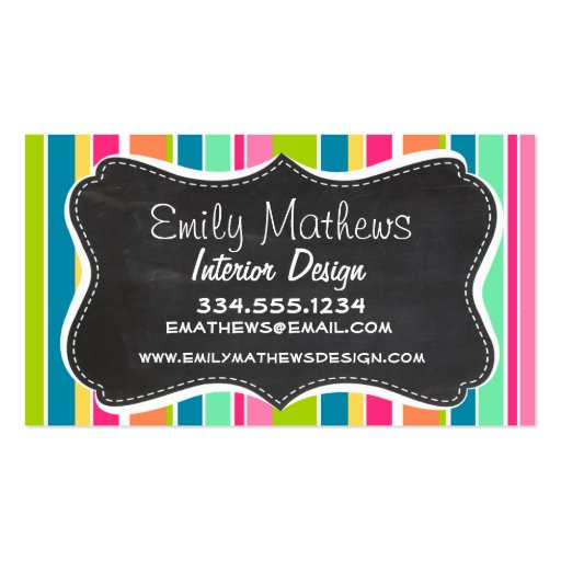 Salmon Pink & Seafoam Green; Vintage Chalkboard Business Card Template