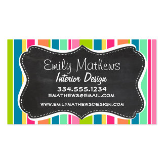 Salmon Pink & Seafoam Green; Vintage Chalkboard Double-Sided Standard Business Cards (Pack Of 100)