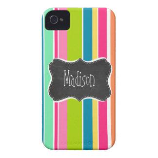 Salmon Pink & Seafoam Green; Vintage Chalkboard iPhone 4 Case-Mate Case