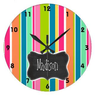 Salmon Pink & Seafoam Green; Vintage Chalkboard Large Clock