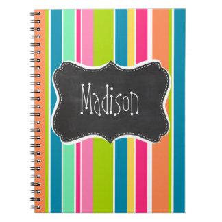 Salmon Pink & Seafoam Green; Vintage Chalkboard Spiral Notebook