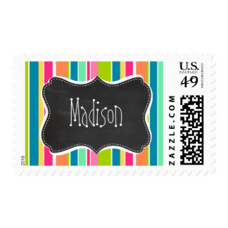 Salmon Pink & Seafoam Green; Vintage Chalkboard Stamps