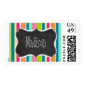 Salmon Pink & Seafoam Green; Vintage Chalkboard Postage Stamp