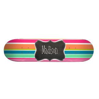 Salmon Pink & Seafoam Green; Vintage Chalkboard Skateboard