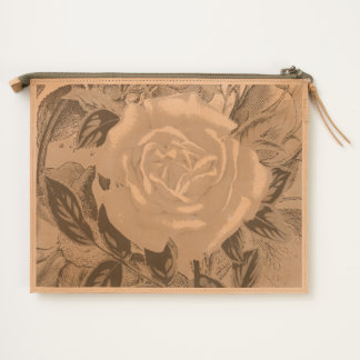 Salmon  Pink shabby rose Travel Pouch