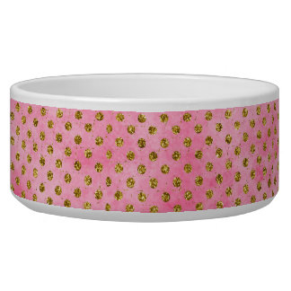 Salmon Pink Watercolor with Gold GLitter Polka Dot Bowl