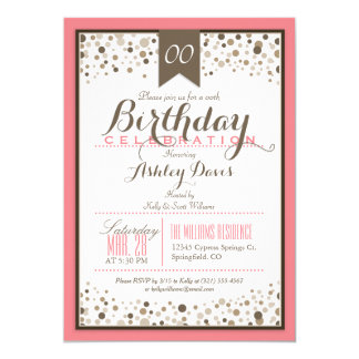 Salmon Pink, White, & Taupe Modern Birthday Party 5x7 Paper Invitation Card
