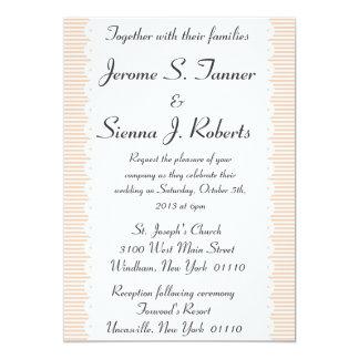 Salmon Pinstripes Wedding Invitation