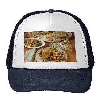 Salmon platter, apple-grapefruit salad trucker hats