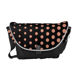 Salmon Polka Dots Modern Black Courier Bag