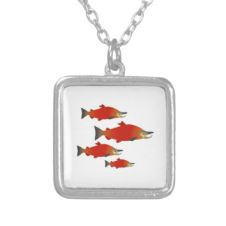 Salmon Rally Silver Plated Necklace