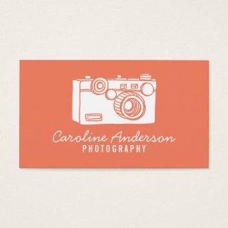 Salmon Retro Camera Photographer Business Card