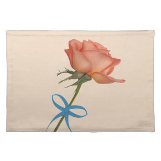Salmon Rose with Blue Ribbon Customizable Placemat