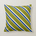 [ Thumbnail: Salmon, Sea Green, Blue, Light Yellow & Green Throw Pillow ]