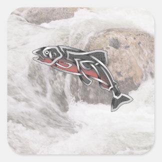Salmon Square Sticker