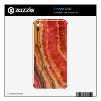 Salmon Striped Quartz Skin For The iPhone 4