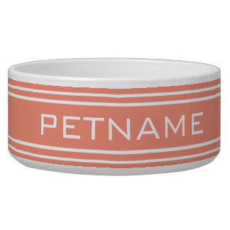 Salmon Stripes custom monogram pet bowls