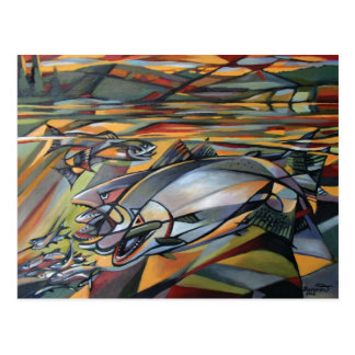 Salmon Sunrise cubism Postcard
