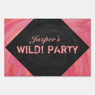 Salmon Swirl and Black Party Lawn Signs