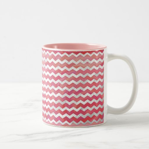 Salmon Swirl Chevron Pattern Coffee Mug