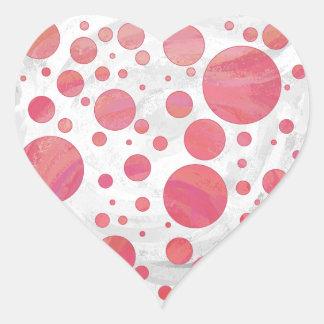 Salmon Swirl Dot Pattern Heart Stickers