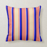 [ Thumbnail: Salmon, Tan, Blue, and Dark Blue Colored Lines Throw Pillow ]