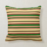 [ Thumbnail: Salmon, Tan, Brown & Dark Green Pattern Pillow ]