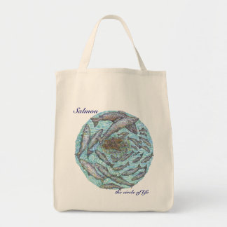 Salmon, the circle of life grocery tote bag