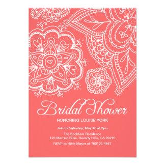 Salmon & White Bridal Shower Invitation