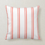 [ Thumbnail: Salmon & White Lined Pattern Throw Pillow ]