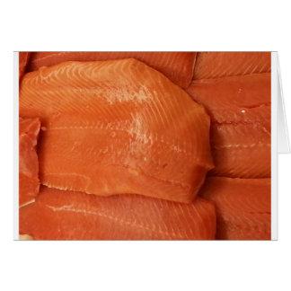 Salmones cortados tarjetón