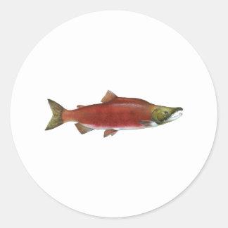 Salmones de Sockeye Pegatina Redonda