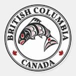 Salmones del arte del Haida de Canadá de la Columb Pegatinas