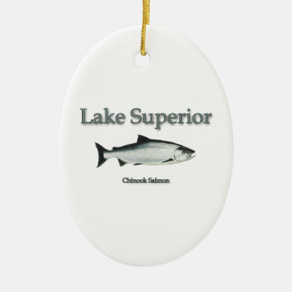 Salmones del lago Superior Chinook (rey) Adorno Navideño Ovalado De Cerámica